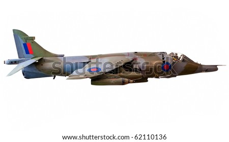British Harrier fighter jet isolated on white with clipping path - stock photo