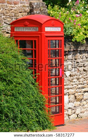 British icon - phone box - stock photo