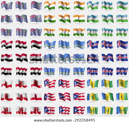 British Indian Ocean Territory, India, Uzbekistan, Syria, Aruba, Iceland, Gibraltar, Puerto Rico, Saint Vincent and Grenadines. Big set of 81 flags.  illustration - stock photo