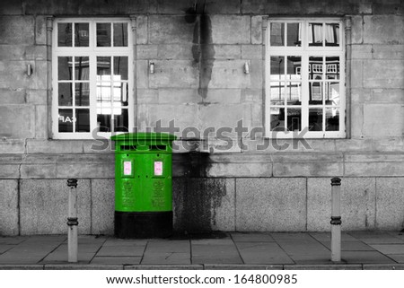 British Letterbox (green) - stock photo