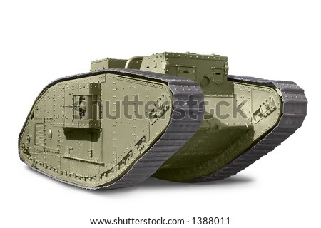 British Mark V tank against white background
