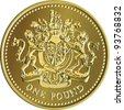 British money gold coin one pound with the image of a heraldic lion, unicorn, shield and crown, isolated on white background - stock photo
