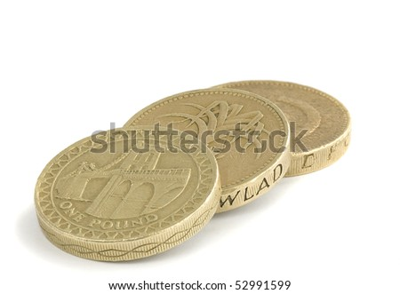 British one pound coins on a white background - stock photo