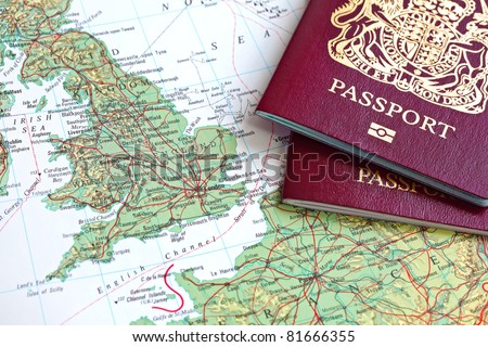British passport and map of Europe - stock photo