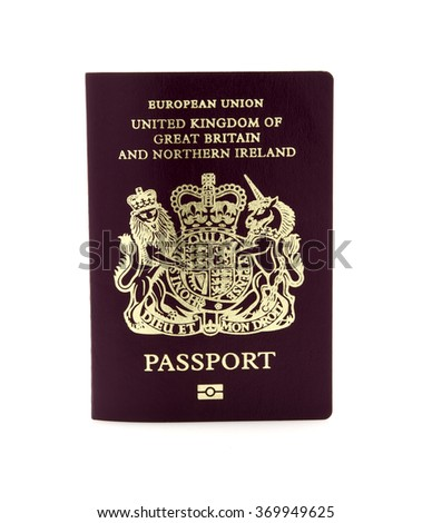 British Passport on a white background - stock photo