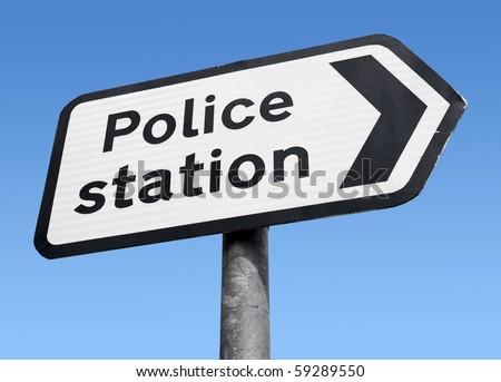 British Police station sign. - stock photo