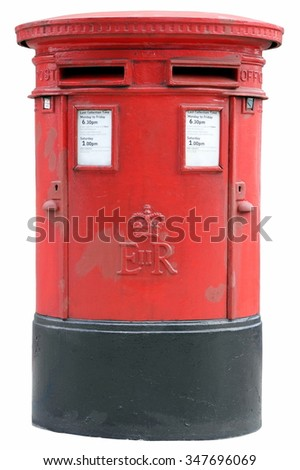 British post box in London British pillar box with two apertures in London, England