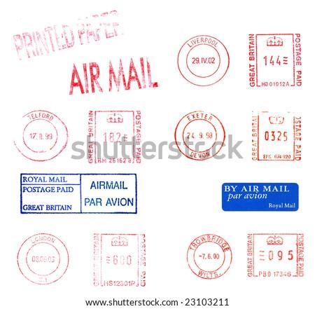 British postage meters - stock photo
