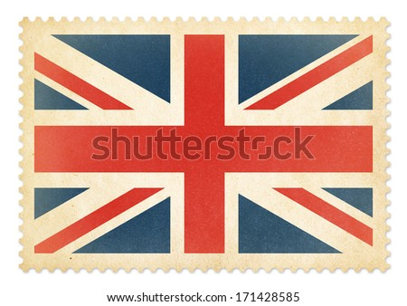 British postage stamp with The Great Britain flag isolated. Clipping path is included. - stock photo