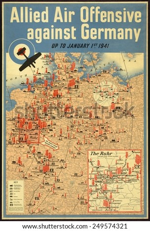 British poster map of the Allied aerial bombing of Germany up to January 1941. - stock photo