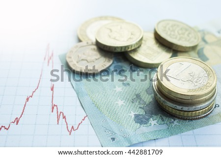 British pound and Euro coins on Euro banknote with Forex falling graph of Pound sterling after leave Euro zone - stock photo