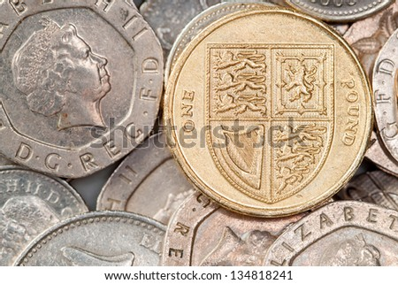 British pound coin on background of 20p pieces