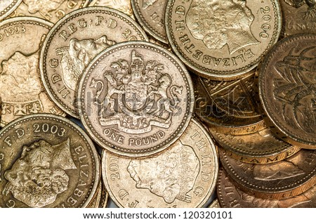 British pound coins - stock photo