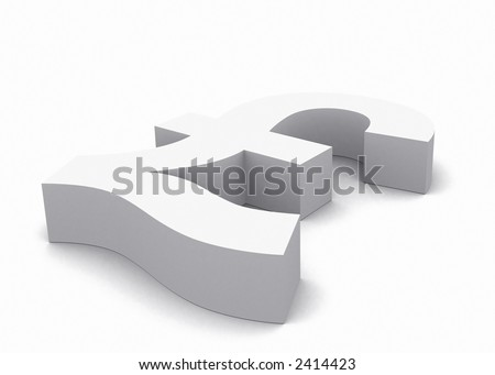british pound currency symbol made in 3d over a white background - stock photo