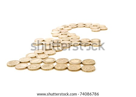 british pound sign in angle made from one pound coins isolated on white background - stock photo