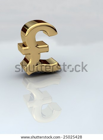British Pound sign in gold 3D on a reflective background - stock photo