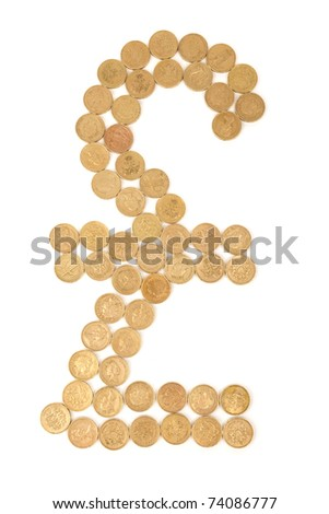 british pound sign made from one pound coins isolated on white background - stock photo