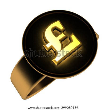 British pound symbol over golden and black ring, 3d render, isolated over white, square image
