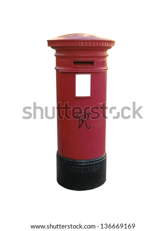 British red letter box on white