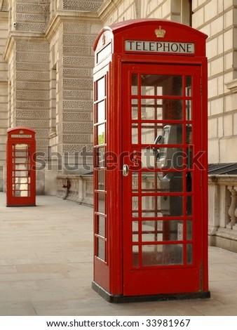 British Red Phone Box on a London Street - stock photo