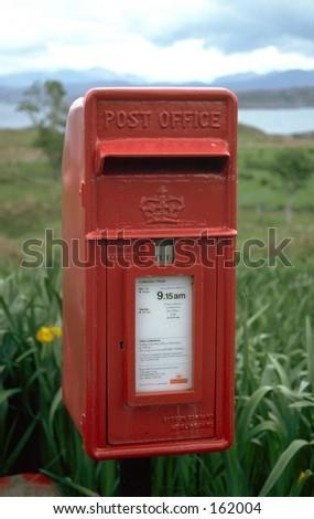 British Red Post Box - stock photo
