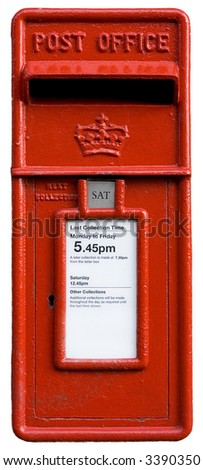 british red postbox, letter box, symbol, isolated on white - stock photo