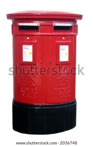 British red two slot post box, isolated on a white background