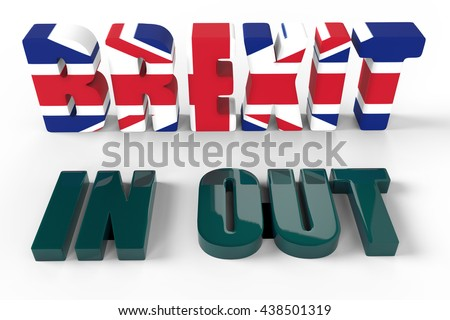 British Referendum Brexit Vote for and against Europe 3D Rendering / Proposed referendum on United Kingdom membership of the European Union