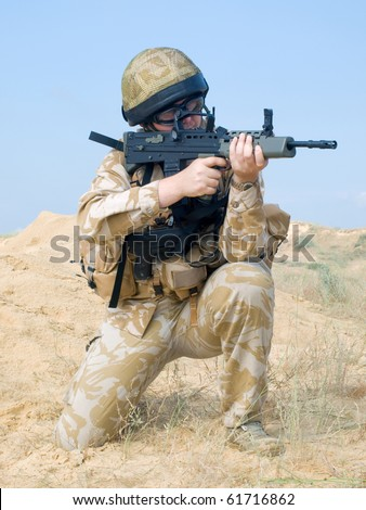 British Royal Commando in action - stock photo