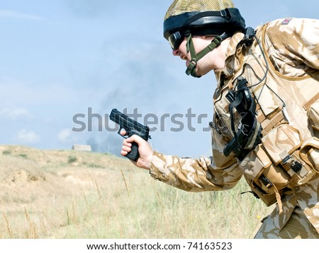 British Royal Commando on mission - stock photo