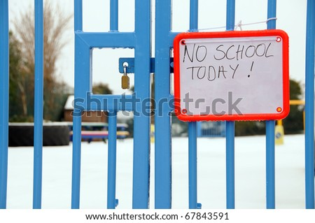 British school closed due to heavy snowfall - stock photo
