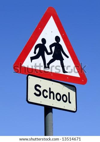 British School roadside warning sign. - stock photo