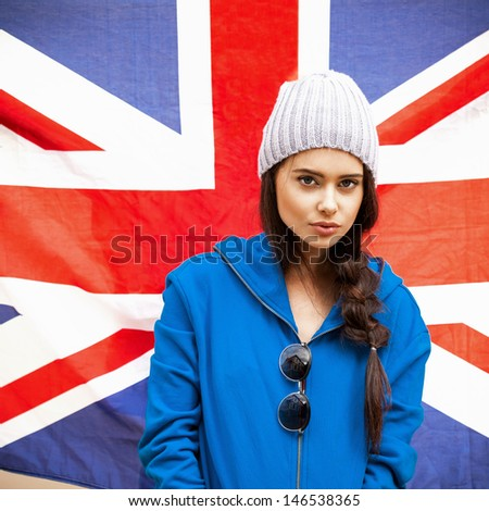 British sexy woman with the Union Jack flag - stock photo
