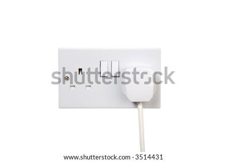 British socket and plug. Turned off. isolated on white - stock photo