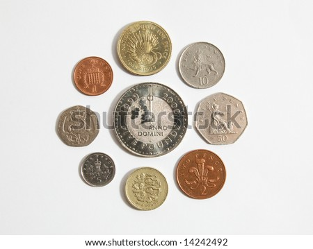 British Sterling coins from one pence to five pounds - stock photo