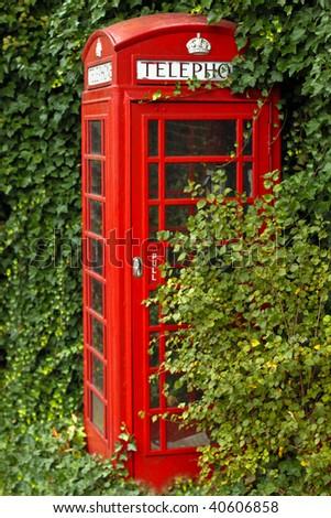 British telephone box in the countryside - stock photo