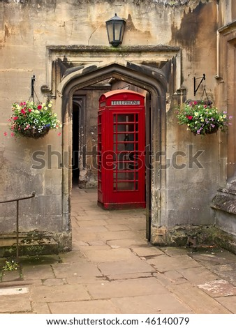 British telephone red box in Oxford, UK. - stock photo