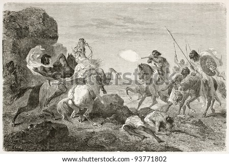 British traveller John Bell killed by Abyssinian warriors. Created by Bayard, published on Le Tour du Monde, Paris, 1867 - stock photo