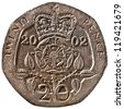 British Twenty Pence Coin Reverse Showing a Crowned Tudor Rose Isolated - stock photo