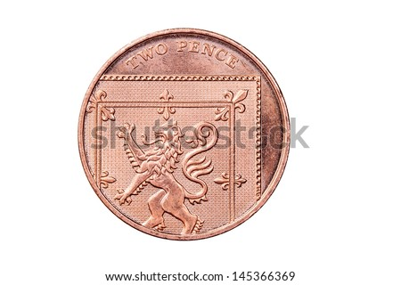 British Two Penny Coin Isolated on White