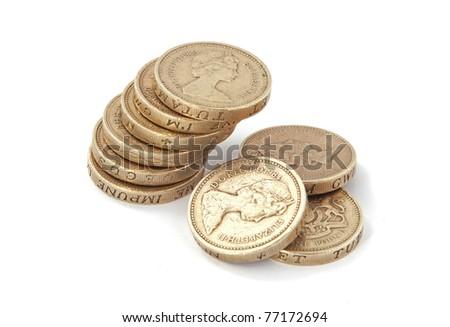 British, UK, pound coins on a plain white background. - stock photo