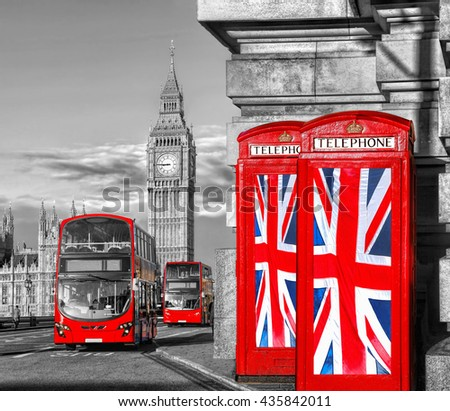 British Union flags on phone booths against Big Ben in London, England, UK