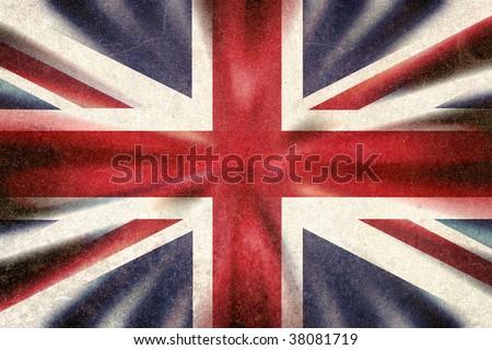 British Union Jack flag in a grunge style - stock photo