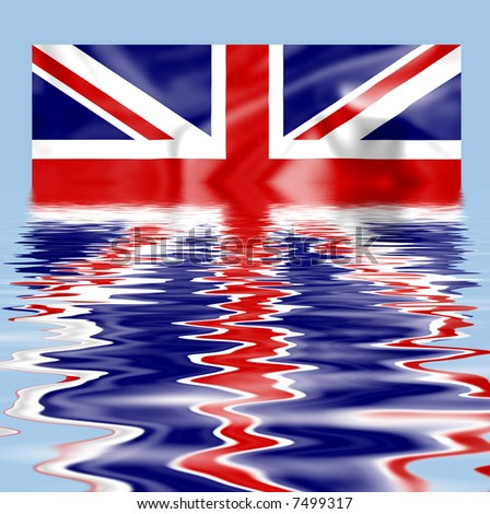 British Union Jack flag submerged and reflecting in water - stock photo