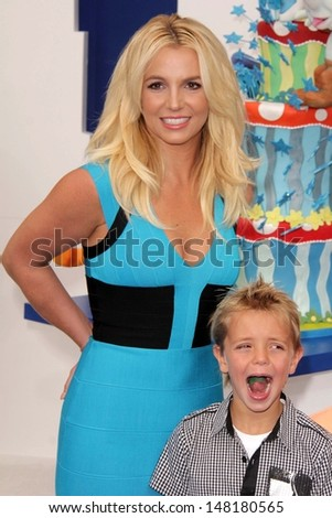 """Britney Spears and Sean Preston Federline at the """"The Smurfs 2"""" Los Angeles Premiere, Village Theater, Westwood, CA 07-28-13 - stock photo"""
