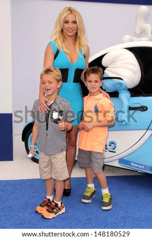 "Britney Spears, Sean Preston Federline and Jayden James Federline at the ""The Smurfs 2"" Los Angeles Premiere, Village Theater, Westwood, CA 07-28-13 - stock photo"