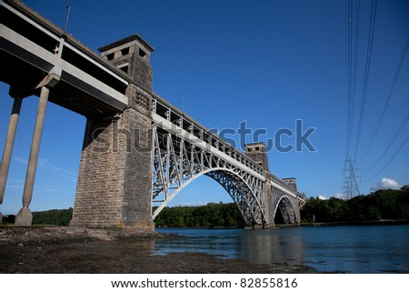 Brittania Bridge spanning the Menai Straits linking the Isle of Anglesey to the mainland North Wales - stock photo