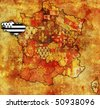 Brittany on old map of france with flags of administrative divisions - stock photo
