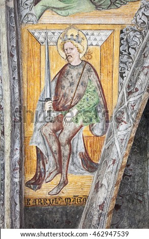Brixen - Bressanone, Italy - July 22, 2016: Portrait od Charlemagne is one of the 14th-15th century Gothic frescos on the ceiling of the Cathedral cloister