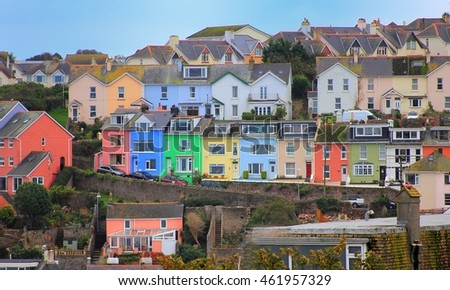 BRIXHAM, DEVON, UK, NOV 02 2015: Colorful houses above the picturesque harbour in Brixham